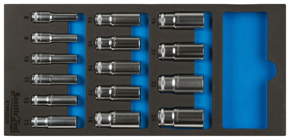 3/8 Inch Deep Socket Set - 14 Pieces Metric
