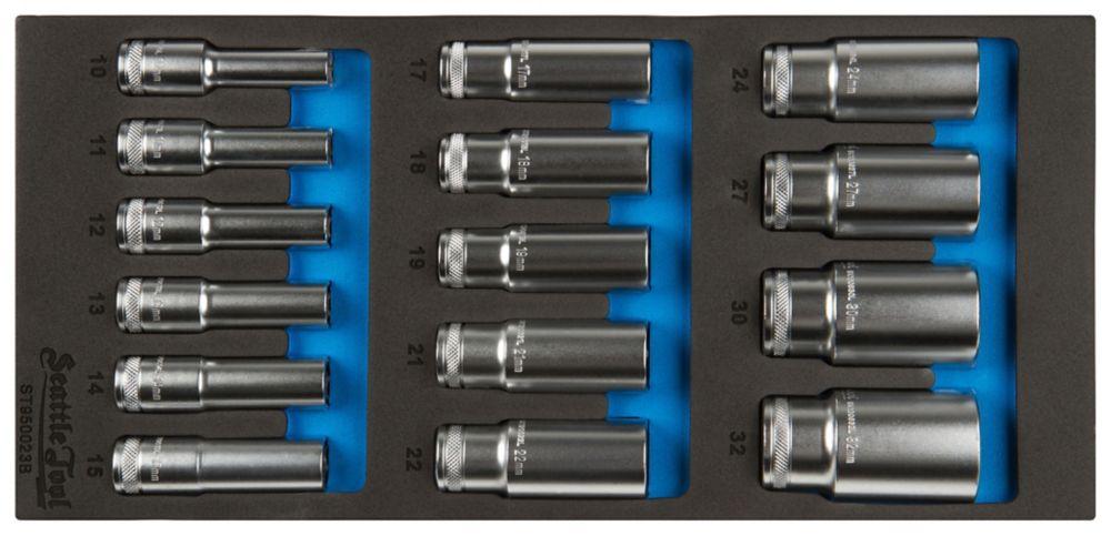 1/2 Inch Deep Socket Set - 14 Pieces Metric