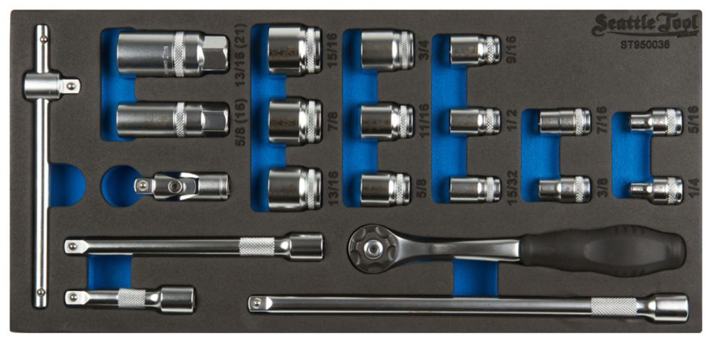 3/8 Inch Socket and Driver Set - 21 Pieces SAE