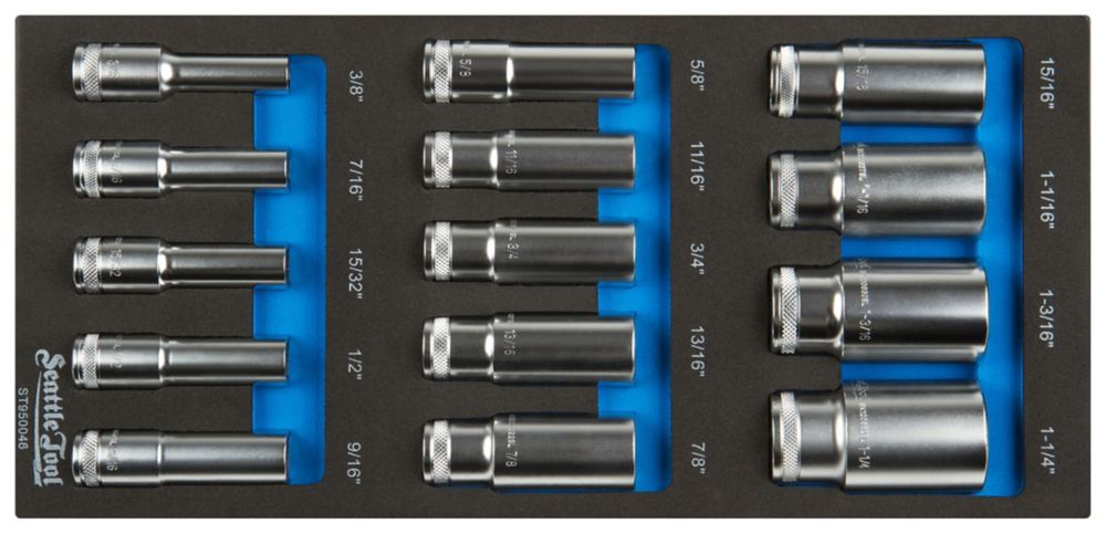 1/2 Inch Deep Socket Set - 14 Pieces SAE