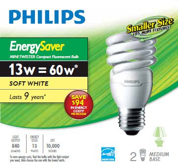 CFL 13W = 60W Mini Twister Soft White (2700K) - Case of 12 Bulbs