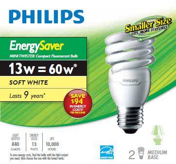LFC Mini Twister EnergySaver 13W = 60W Blanc doux (2700K) - Cas de 12 Ampoules