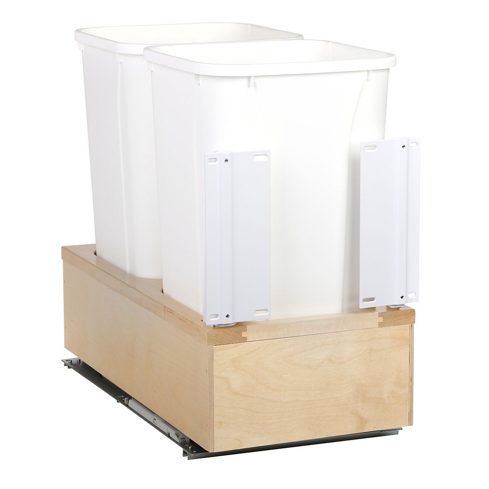 11-5/8 In. x 22-3/8 In. x 19-5/8 In. Undermount 27 QT. Soft-Close Double Trash Cans