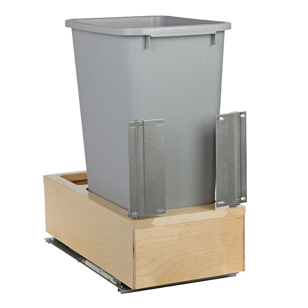 Poubelle simple de 47,3 litres à fermeture amortie et à montage par le dessous