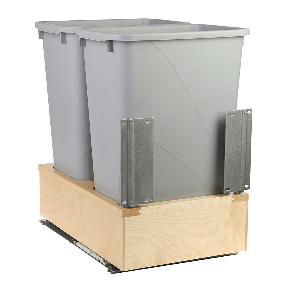 Poubelle double de 47,3 litres à fermture amortie et à montage par le dessous