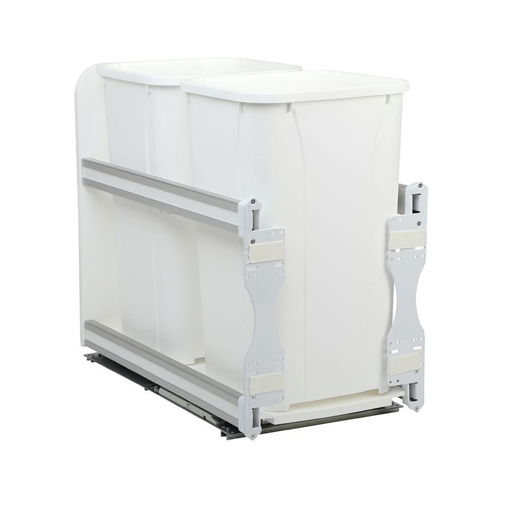 Poubelle double encastrée dans l'armoire de 25.6 litres à fermeture amortie