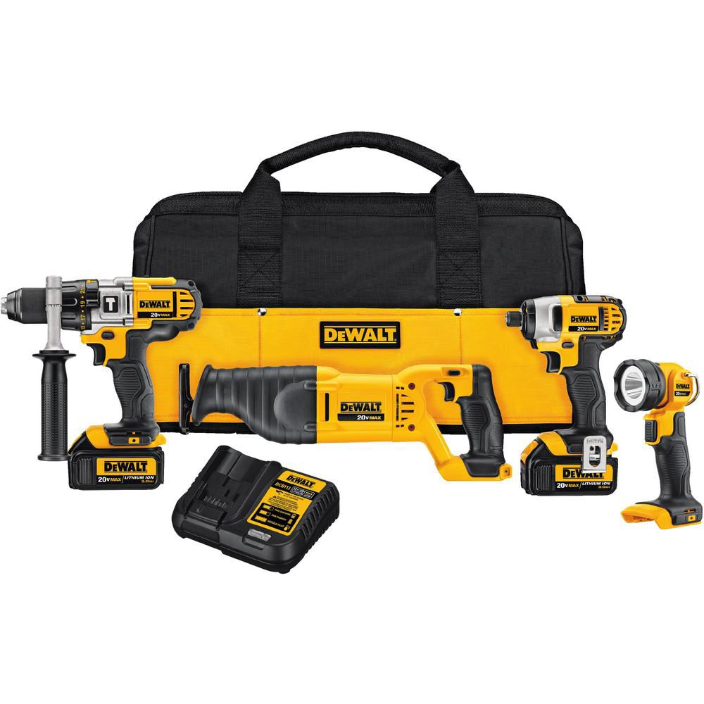 DEWALT 20V MAX Lithium-Ion Cordless Combo Kit (4-Tool) with (2) Batteries 3Ah, Charger and Contractor Bag