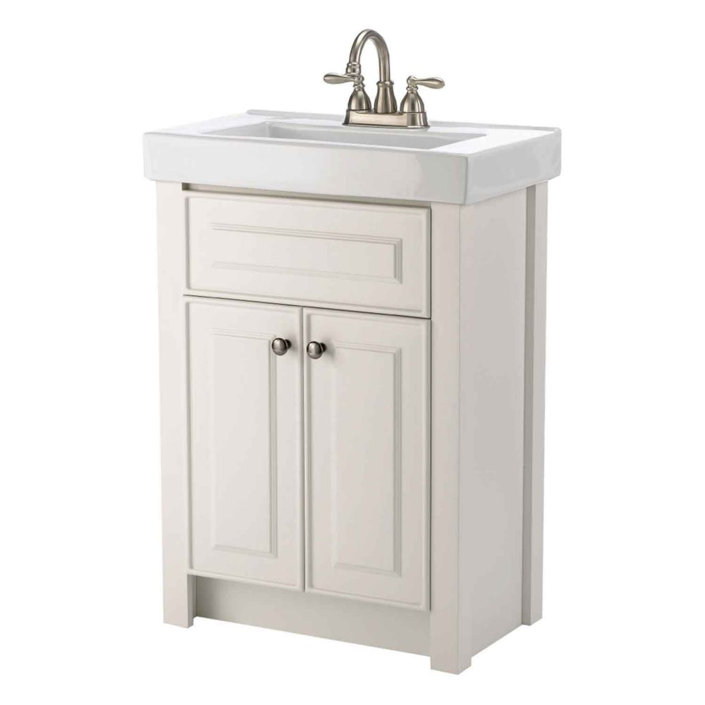 Magick Woods Keystone 24 Inch W 2 Door Freestanding Vanity In White With Ceramic Top In White