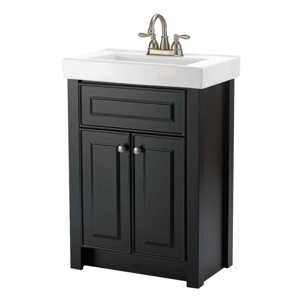 Keystone 24-inch W 2-Door Freestanding Vanity in Dark chocolate With Ceramic Top in White