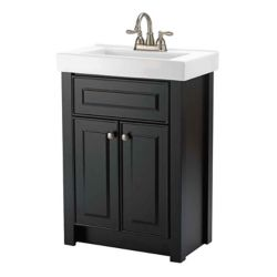 Magick Woods Keystone 24-inch W 2-Door Freestanding Vanity in Dark chocolate With Ceramic Top in White