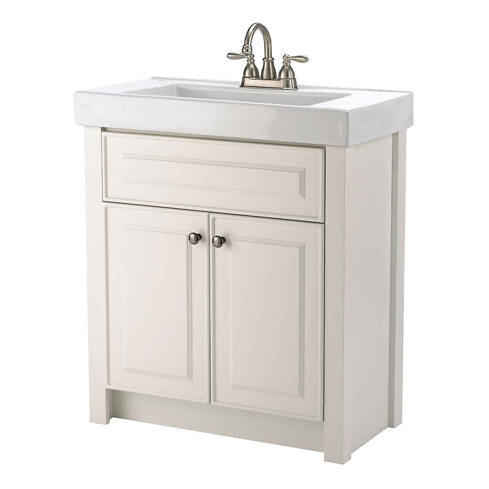 Keystone 30.25-inch W 2-Door Freestanding Vanity in White With Ceramic Top in White
