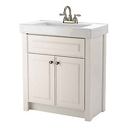 Magick Woods Keystone 30.25-inch W 2-Door Freestanding Vanity in White With Ceramic Top in White