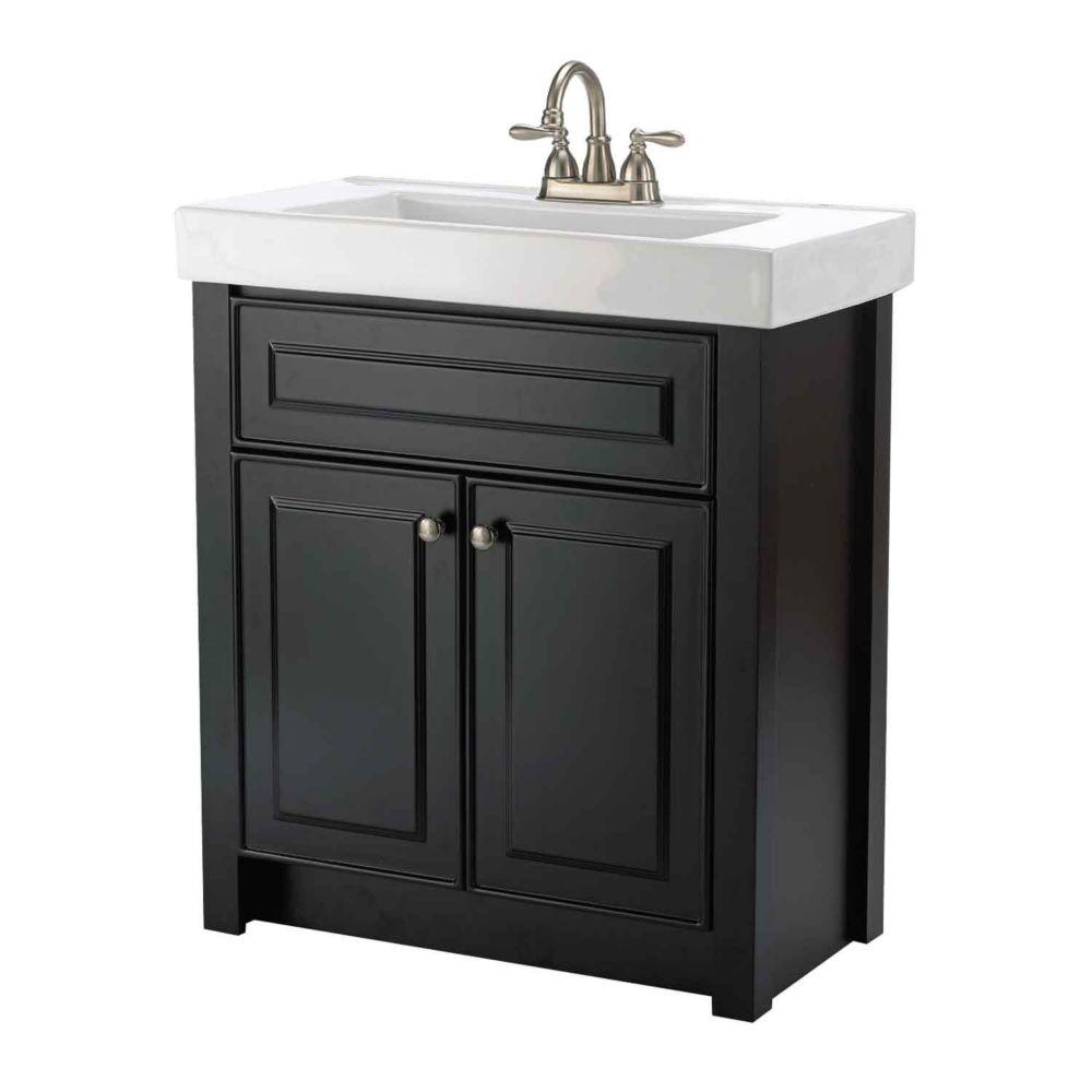 Keystone 30-inch W 2-Door Freestanding Vanity in Black With Ceramic Top in White