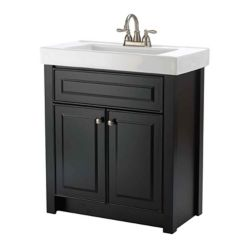Magick Woods Keystone 30-inch W 2-Door Freestanding Vanity in Black With Ceramic Top in White