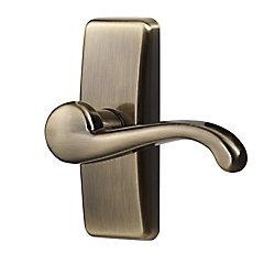 Ideal Security Antique Brass Storm Door Lever Handle Set