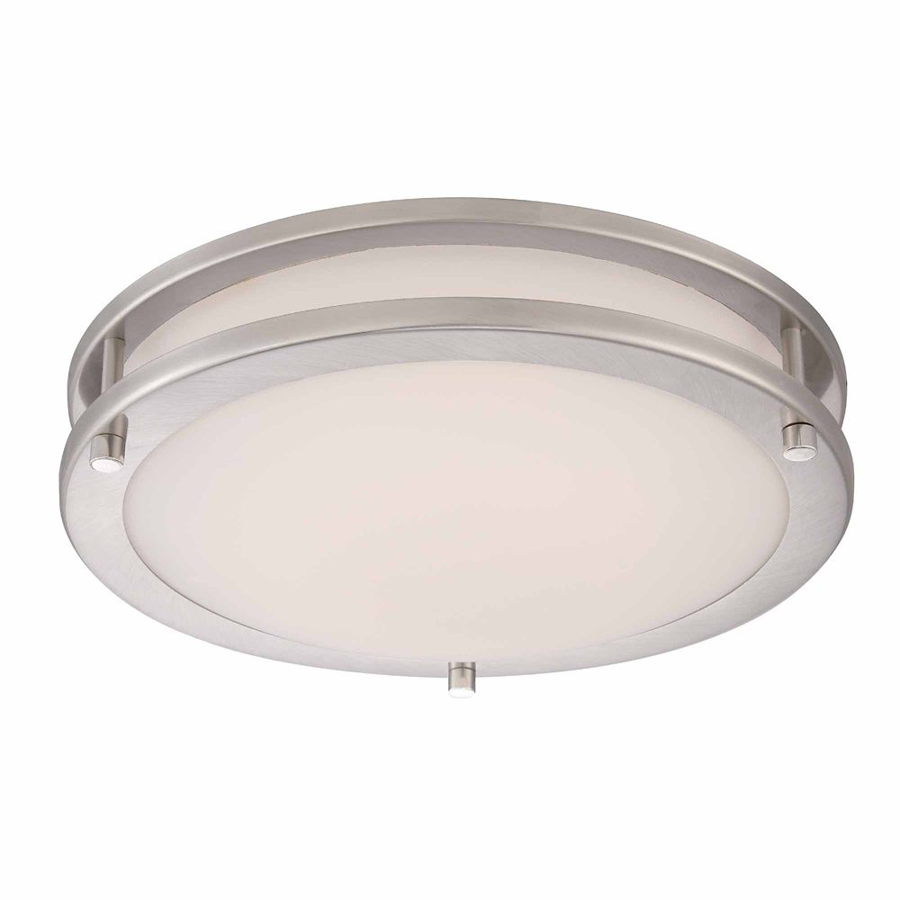 12-inch Brushed Nickel LED Flushmount Ceiling Light with Frosted Glass Shade - ENERGY STAR