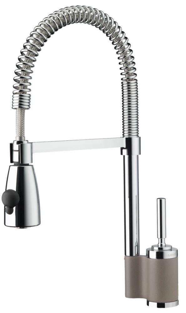 Maestro II, robinet à bec rétractable, deux jets, chrome/truffe