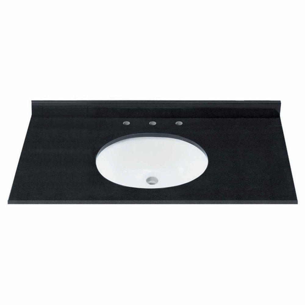 Dessus de meuble-lavabo granite naturel en couleur jet noir de 124,46 cm 49 po