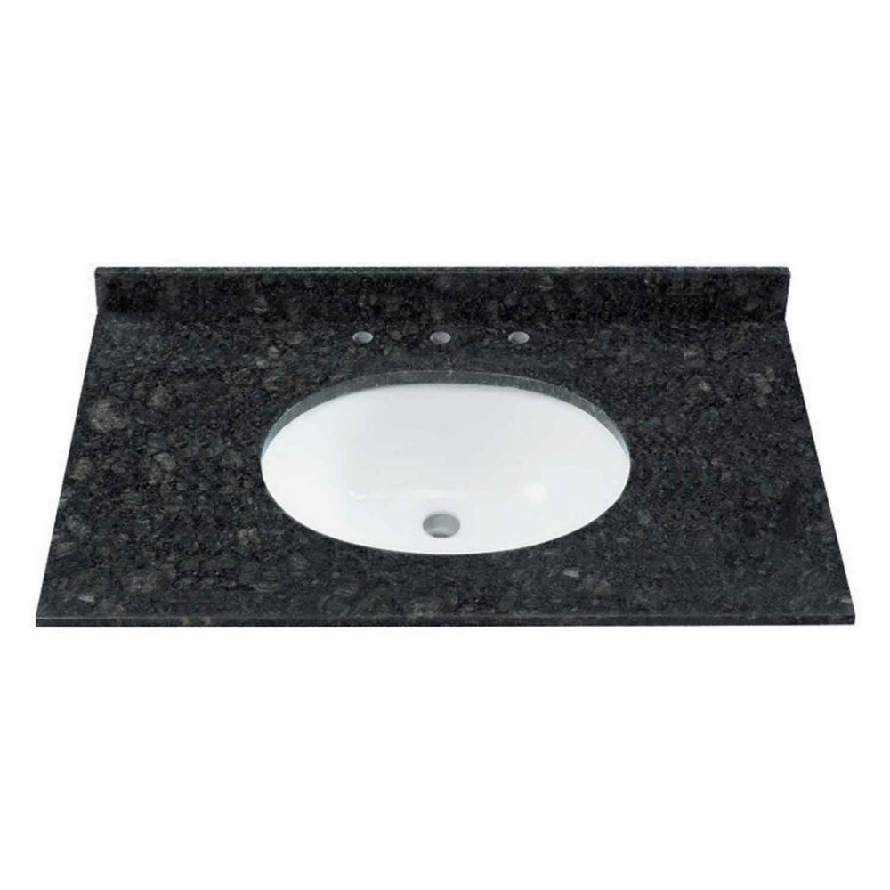 37-Inch W Natural Granite Vanity Top in Black/Green