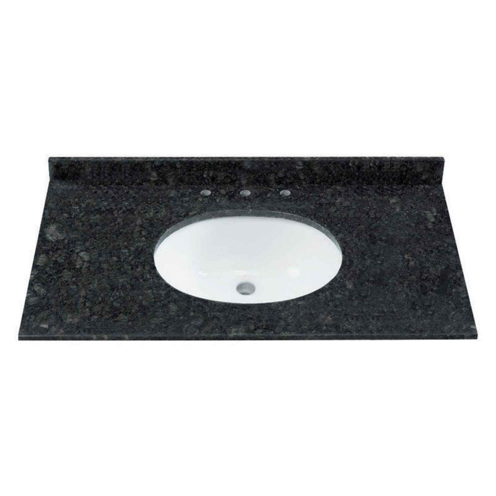 Dessus de meuble-lavabo granite naturel en couleur noir / vert de 124,46 cm 49 po