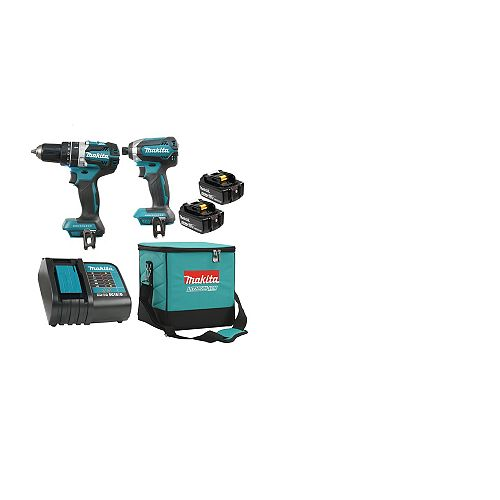 MAKITA 18V 5.0 Ah Li-Ion Brushless Cordless Hammer Drill and Impact Driver Combo Kit