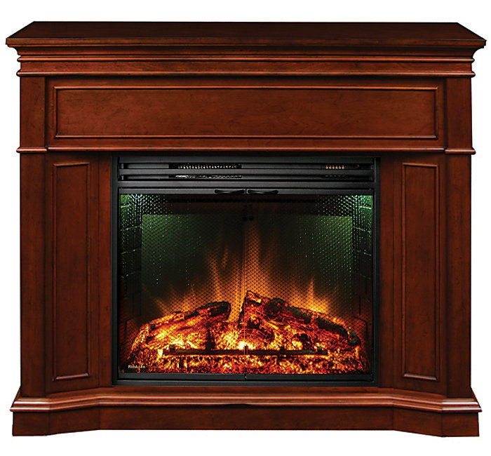 Pleasing Electric Fireplace With Corner Option And 28 Inch Full View Insert Burnished Cherry Home Interior And Landscaping Oversignezvosmurscom