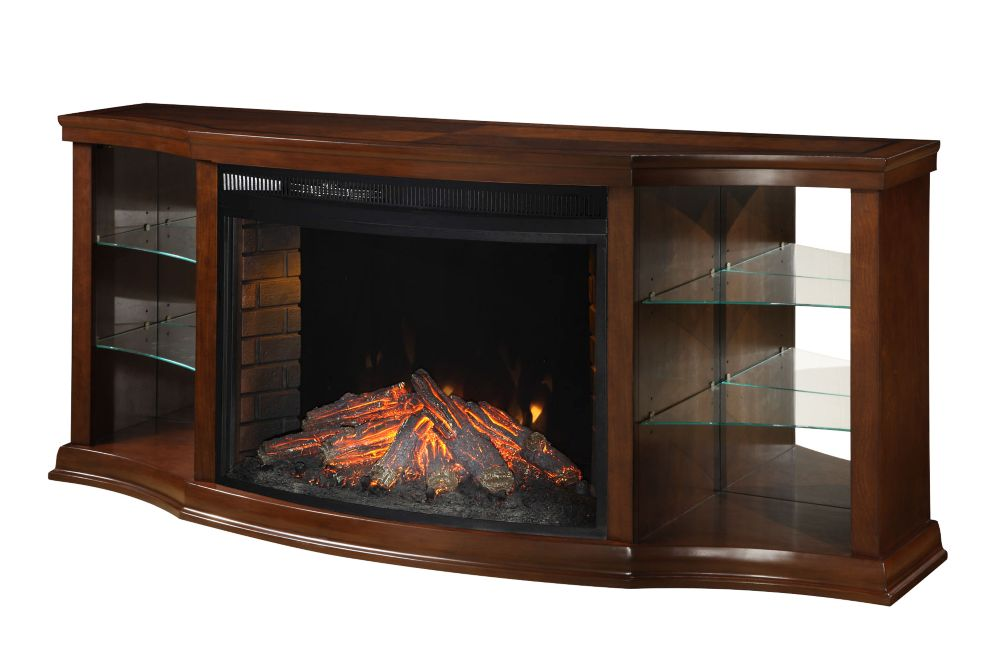 Electric Fireplace With 33 Inch.  Curved Full View Insert, Cherry