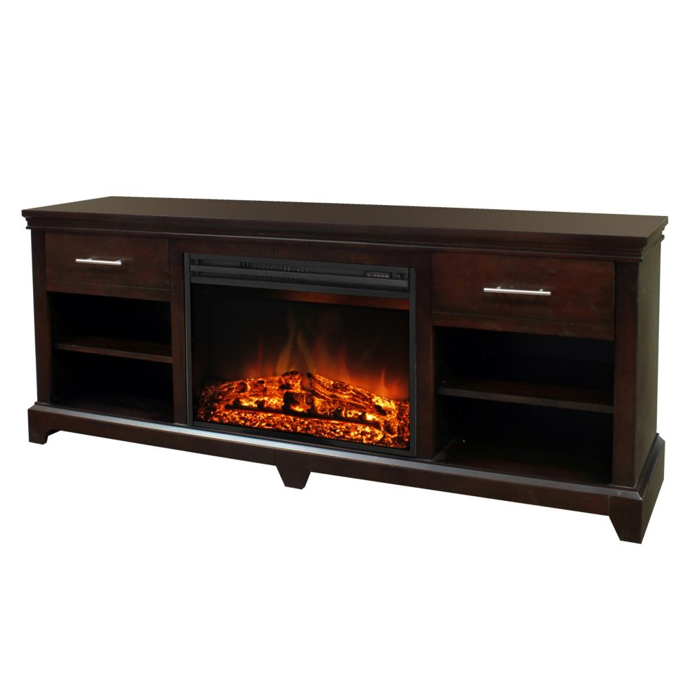 Muskoka Electric Fireplace With 26 Inch Widescreen Insert Burnished Walnut The Home Depot Canada