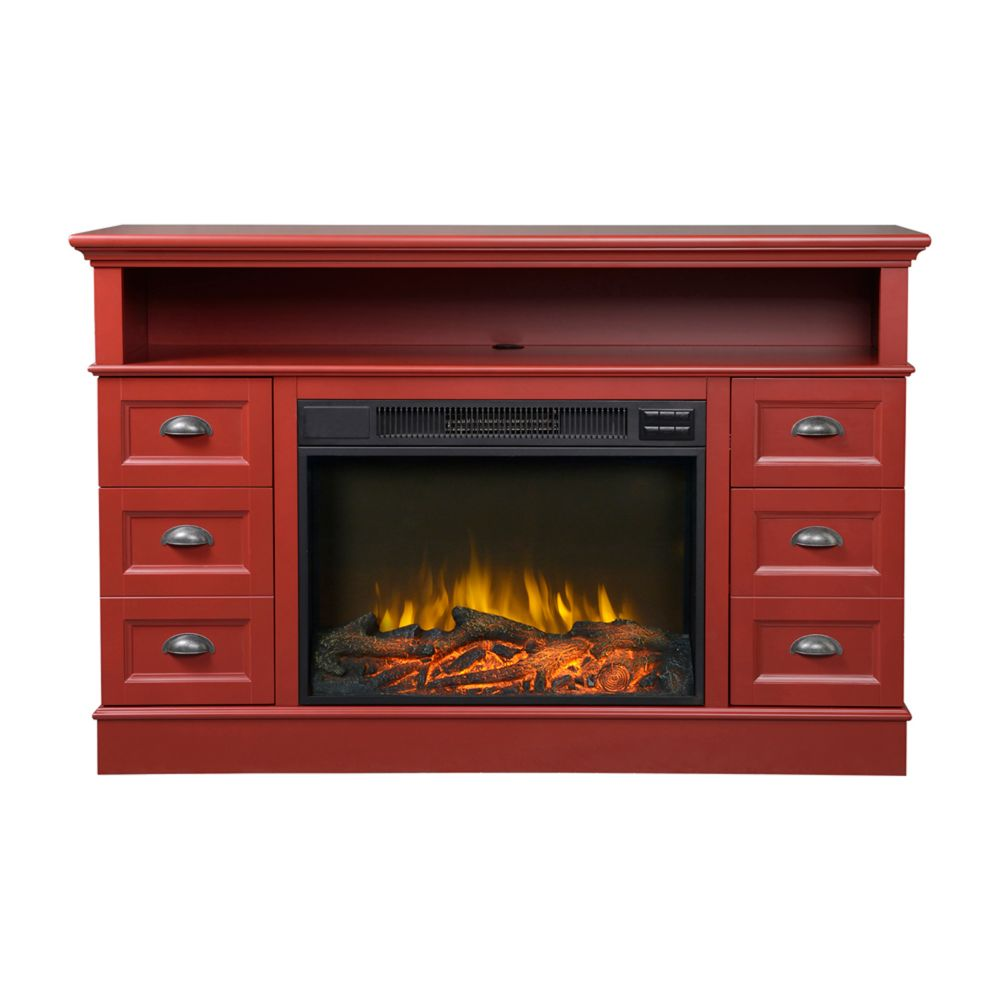 Flamelux Bremen Red Media Electric Fireplace Console The Home Depot Canada