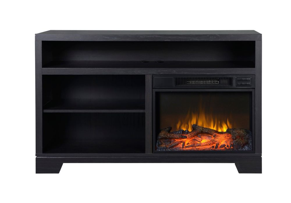 Flamelux Vancouver Black Oak Electric Media Fireplace Console The Home Depot Canada