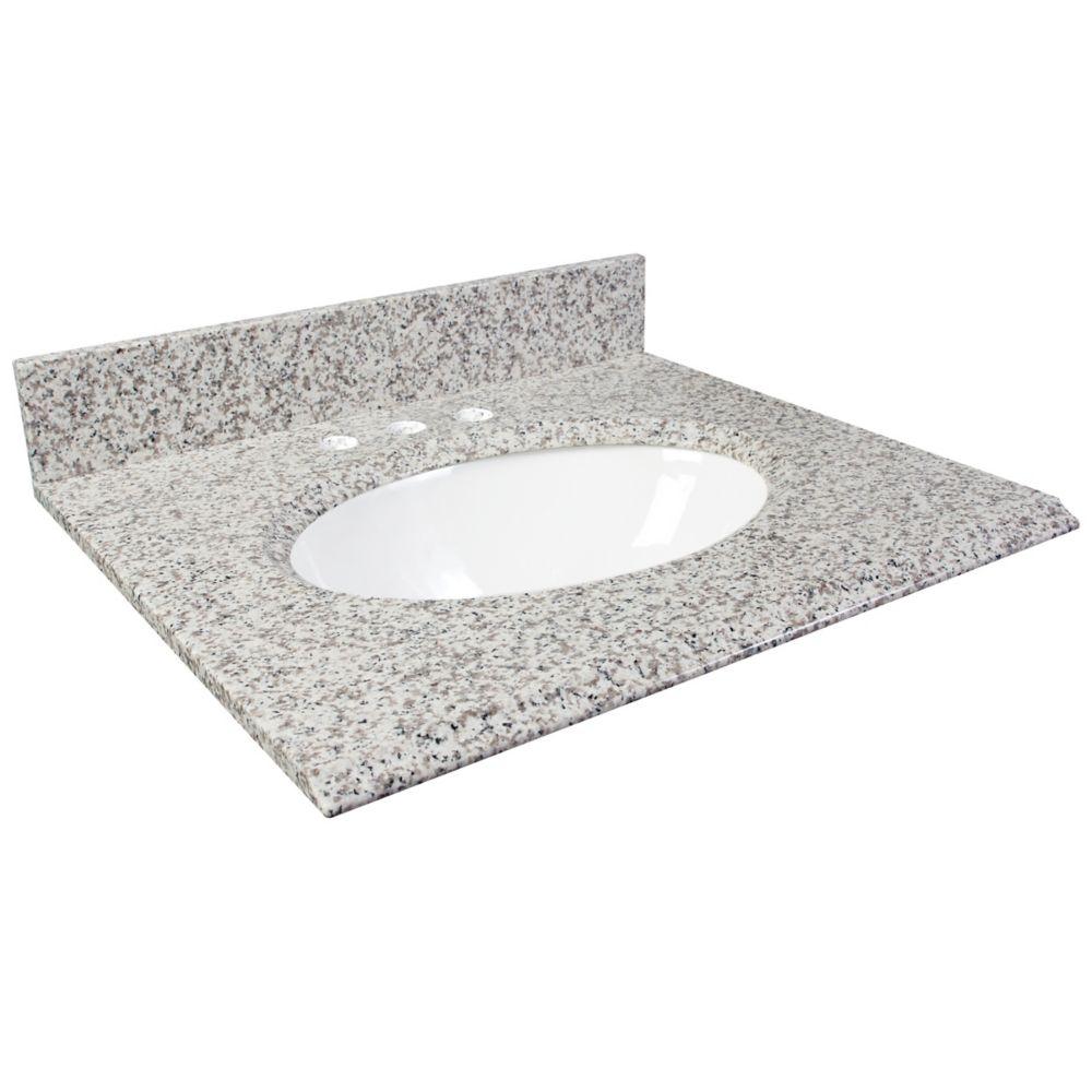 25-Inch W x 22-Inch D Granite Vanity Top in White Ash
