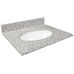 Foremost International Dessus de meuble-lavabo en granite Cendre blanc 31 po