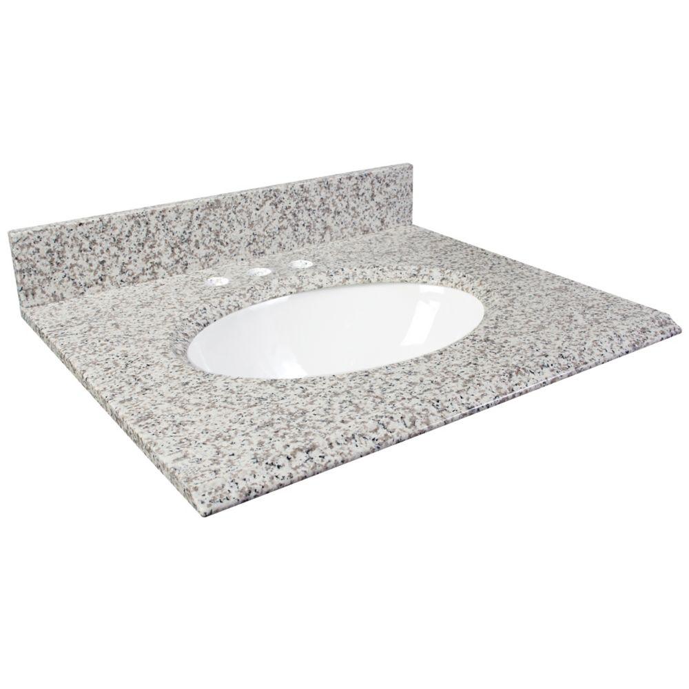 Dessus de meuble-lavabo en granite Cendre blanc 31 po