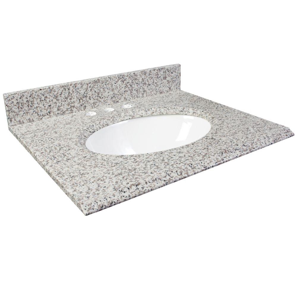 Dessus de meuble-lavabo en granite Cendre blanc 37 po