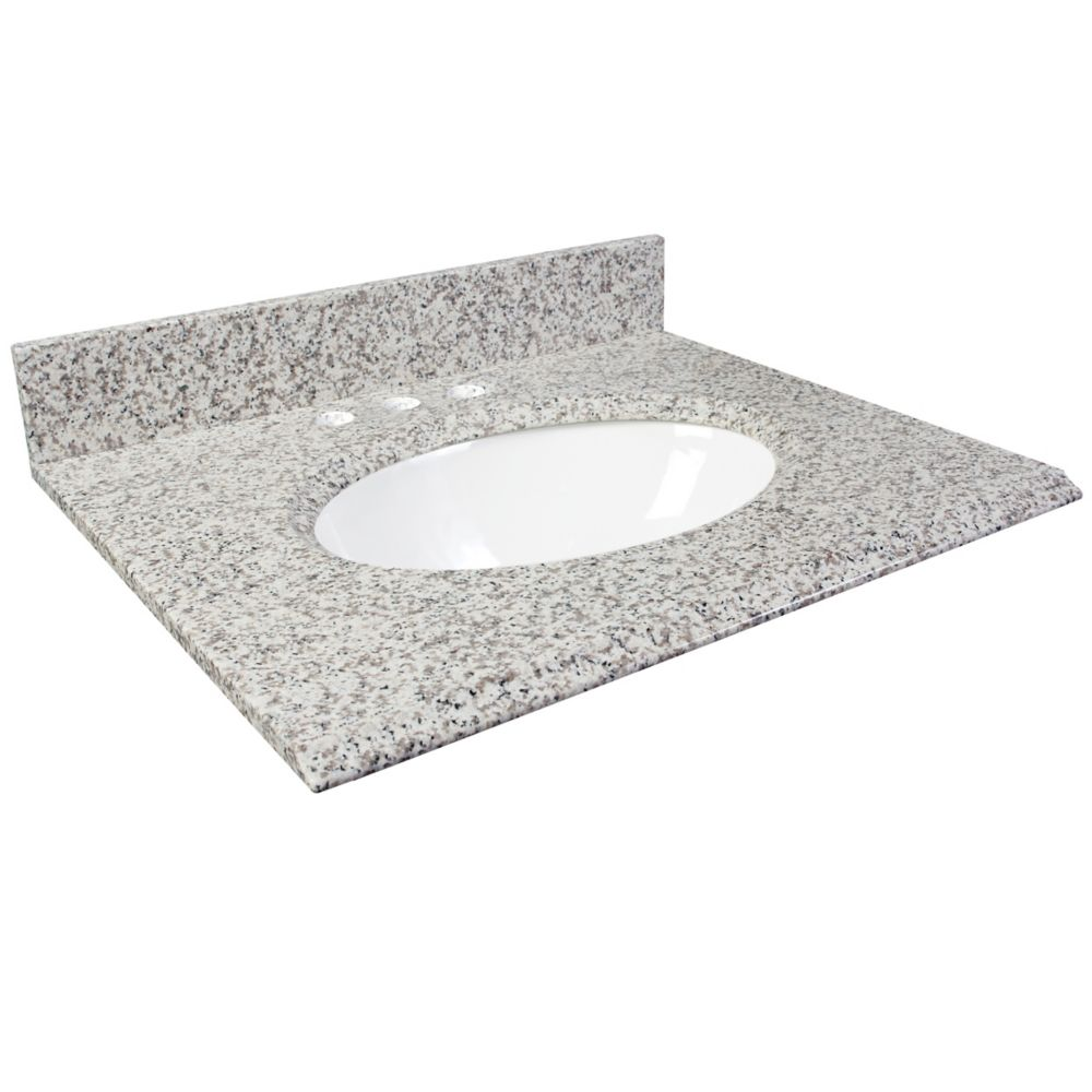 37-Inch W x 22-Inch D Granite Vanity Top in White Ash