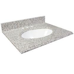 Foremost International Dessus de meuble-lavabo en granite Cendre blanc 37 po