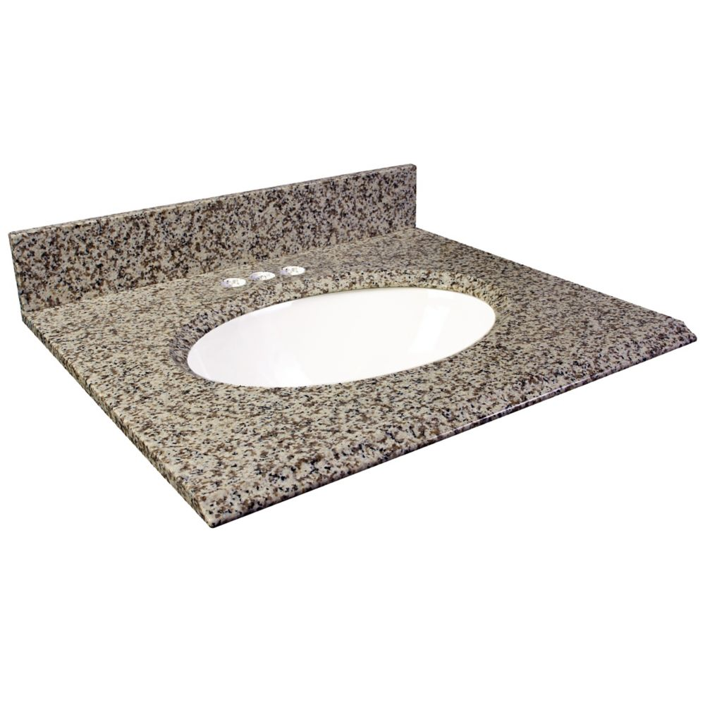 Dessus de meuble-lavabo en granite brun Murcia 31 po
