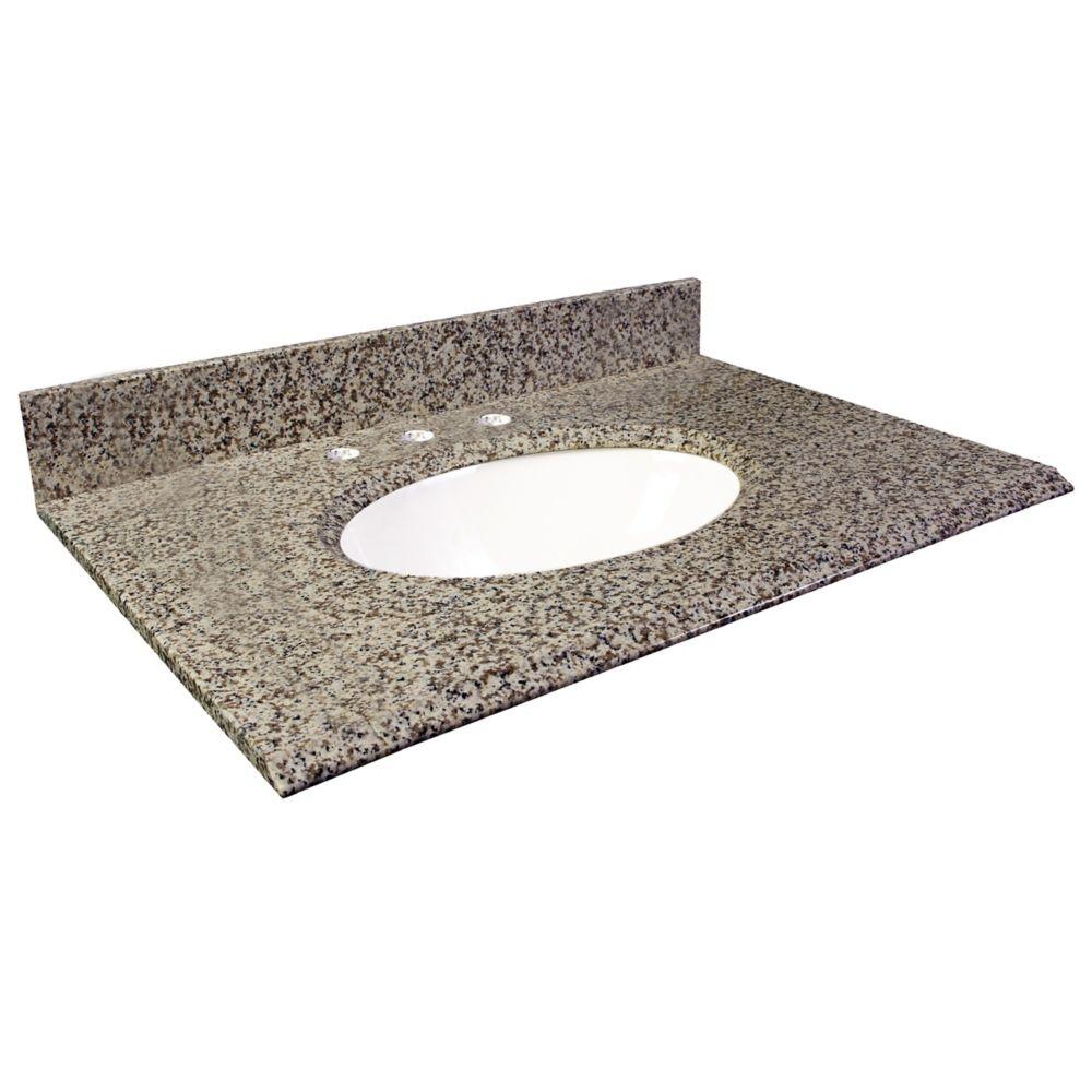 Dessus de meuble-lavabo en granite brun Murcia 49 po