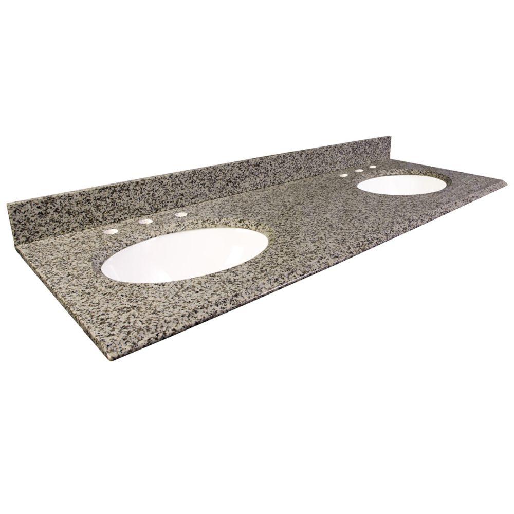 Dessus de meuble-lavabo en granite brun Murcia 61 po
