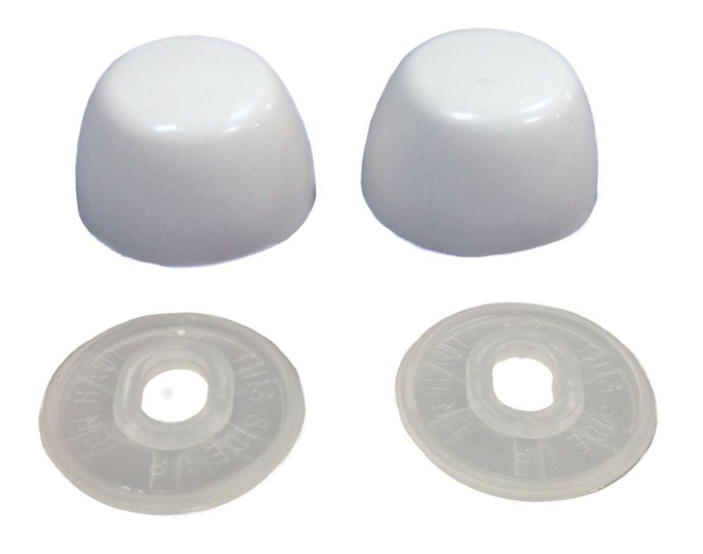 Emballage pour entrepreneurs:  Couvercles de boulons de toilettes en blanc (10 paires)