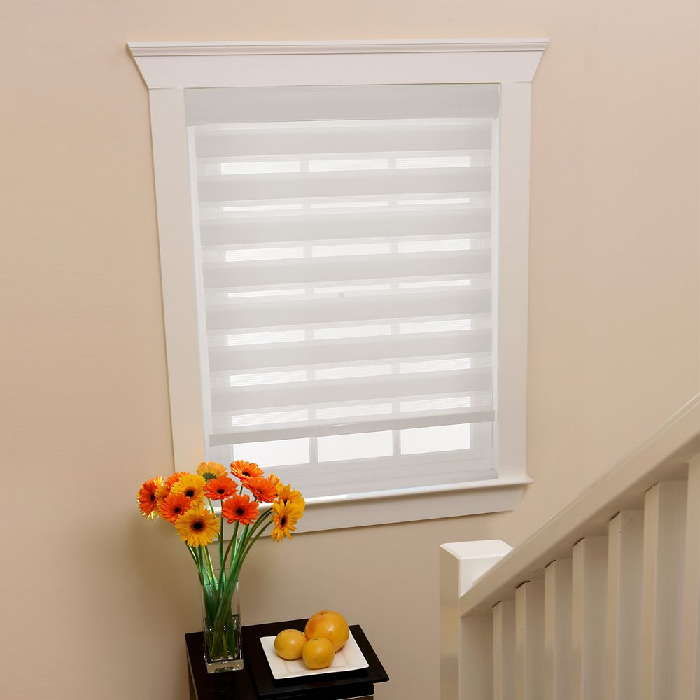 Home Decorators Collection 27 In X72in White Zebra Layered Roller Shades The Home Depot Canada