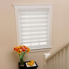 Store à enroulement zèbre diaphanes blanc filtres de lumière, taillée sur mesures de 62 po x 72 po