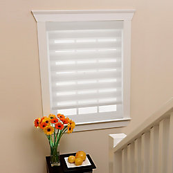 Home Decorators Collection 72 in x72in White Zebra Layered Roller Shades