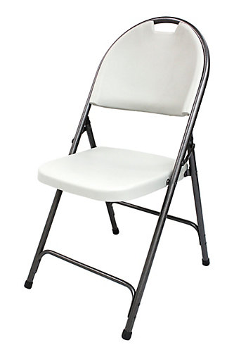hdx folding plastic chair in white with black metal frame the home