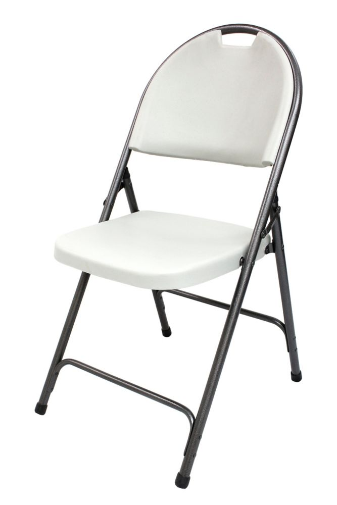 Folding Plastic Chair in White with Black Metal Frame