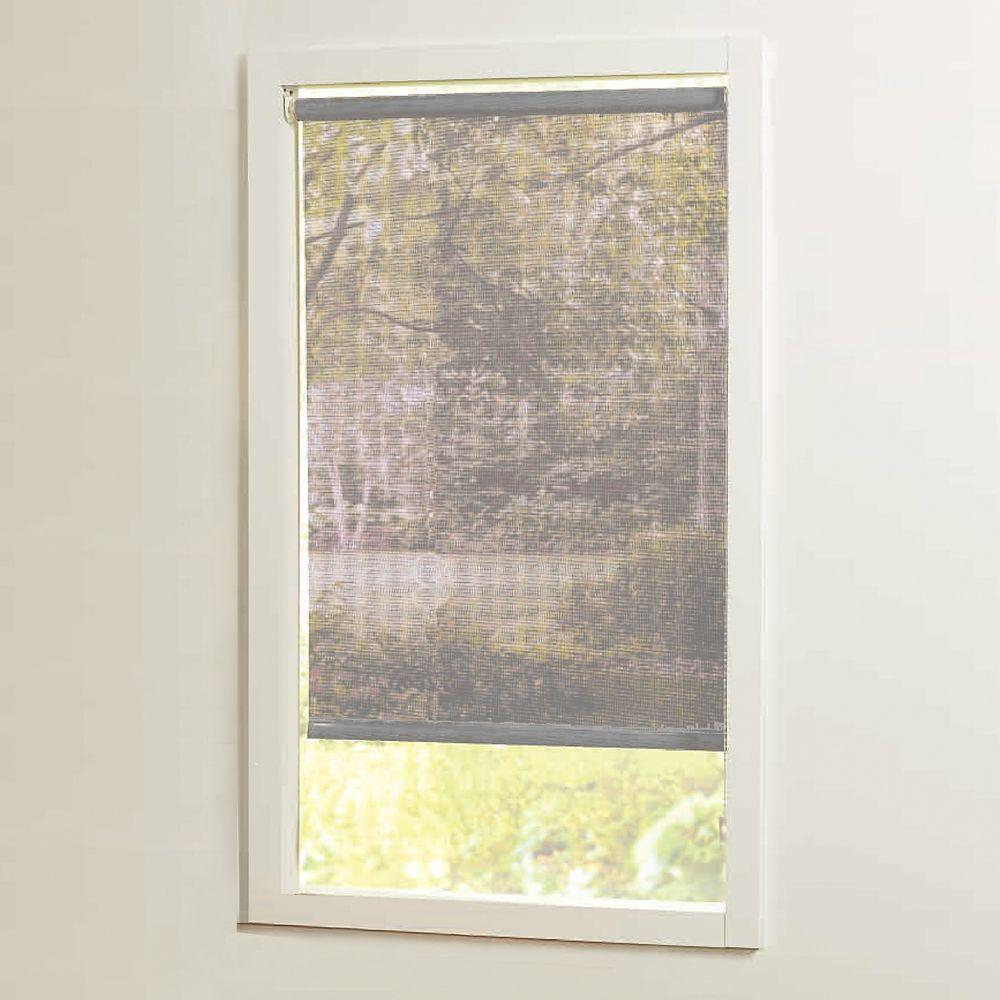 Stores à rouleaux solaires gris tamisage de la lumière, taillée sur mesures de 55 po x 72 po