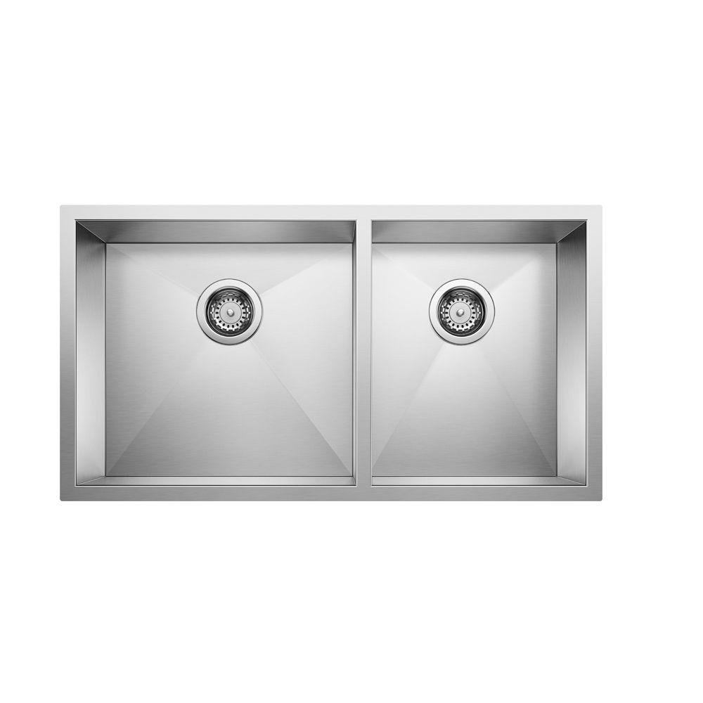 Quatrus U 1 3/4, Stainless Steel Sink, 1.75 Bowls, Undermount SOP1449 Canada Discount