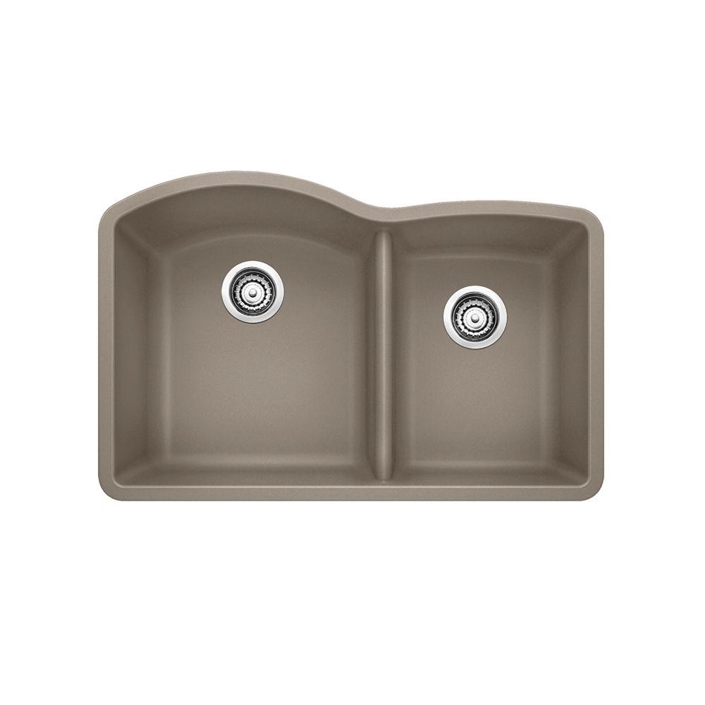 Diamond U1.75 Low Divide, Silgranit Sink, Undermount, Truffle