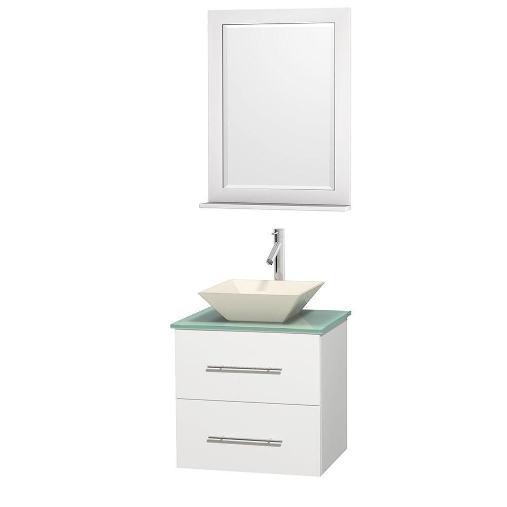 Centra 24-inch W Vanity in White with Glass Top with Bone Basin and Mirror