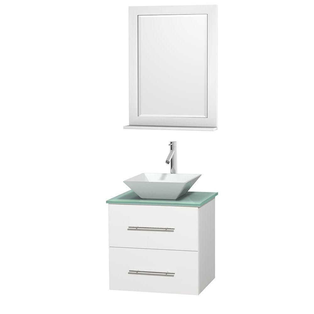 Centra 24-inch W Vanity in White with Glass Top with White Basin and Mirror